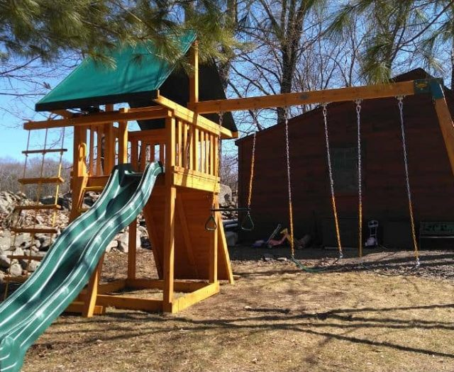 Dream Playground with Wave Slide, Ring Trapeze Bar, and Sling Swings