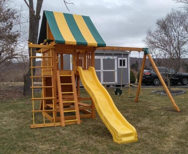 Dream Swing Set with Rung Ladder, Wave Slide, and Full Bucket Infant Swing