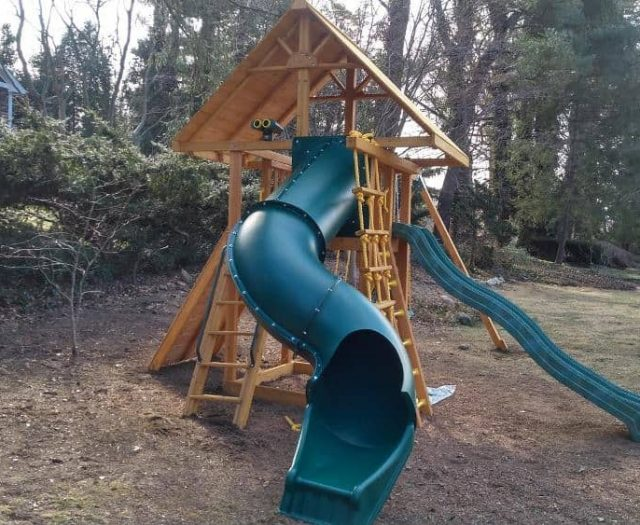 Dream Swing Set with Spiral Slide, Wood Clubhouse Roof, and Wave Slide