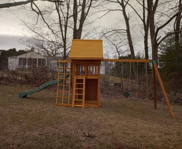 Dream Swing Set with Wood Roof, Sling Swing, and Trapeze Ring