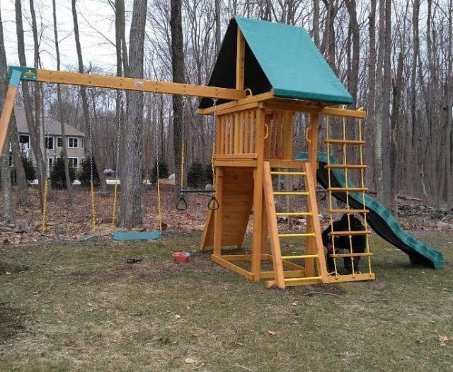Dreamscape Jungle Gym with Sling Swing, Wave Slide, and Green Tent Top