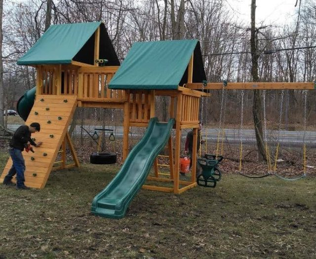 Fantasy Jungle Gym with Rock Wall, Tent Top, and Bridge