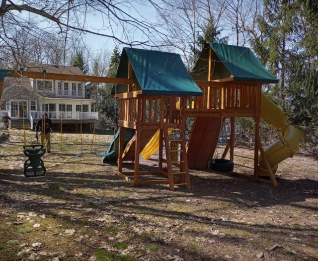 Fantasy Jungle Gym with Tic Tac Toe Board, Tire Swing, and Horse Glider Swing