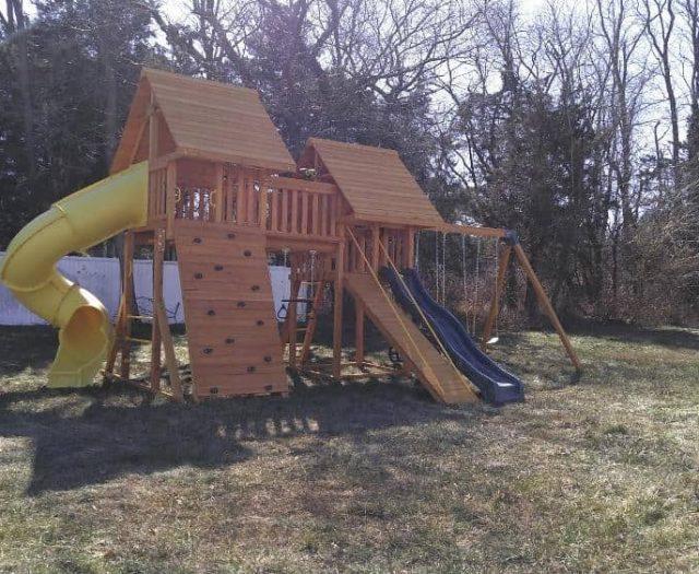 Fantasy Swing Set with Spiral Slide, Bridge, and Gang Plank