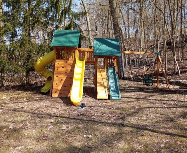 Fantasy Swing Set with Spiral Slide, Wave Slide, and Scoop Slide