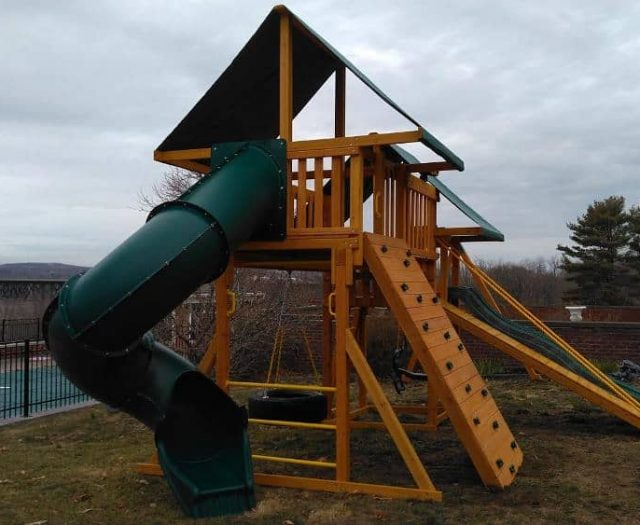 Fantasy Swing Set with Tire Swing, Green Tent Top, and Spiral Slide