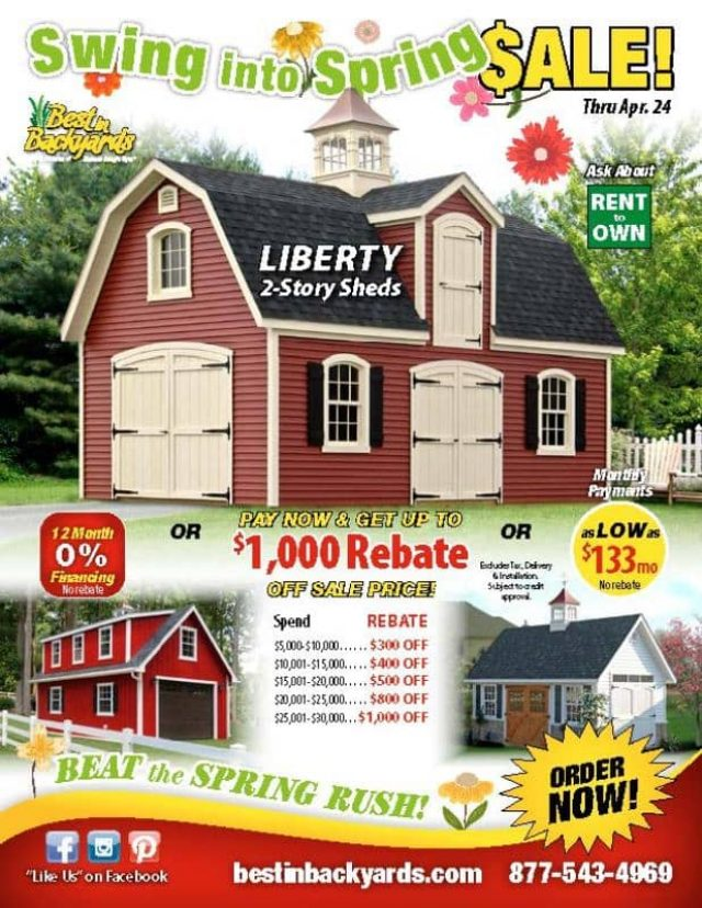 Liberty Two Story Sheds April Cover