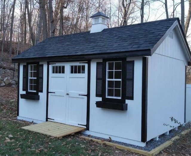 A-Frame Shed with White T-111 Siding, Black Trim, and Cupola