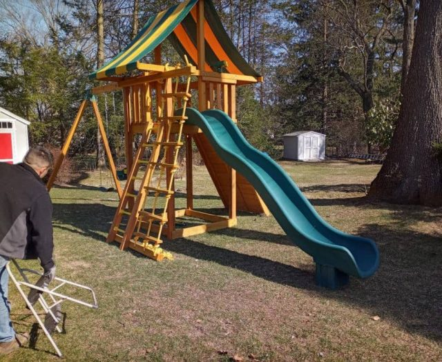 Ultimate Swing Set with Scoop Slide, Ladder, and Rock Wall