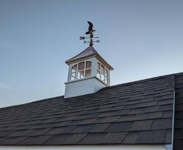 White Vinyl Cupola with Copper Eagle Weather Vane