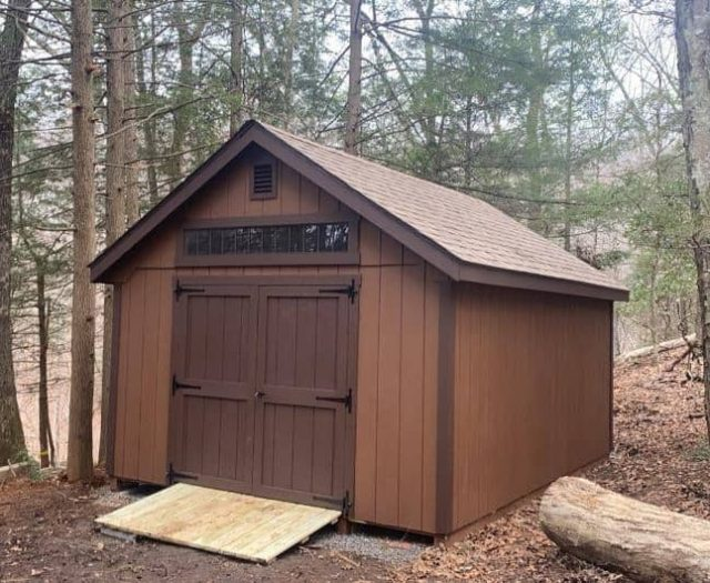 A-Frame Backyard Shed with Brown T-111 Siding, Dark Brown Double Doors and Side Windows