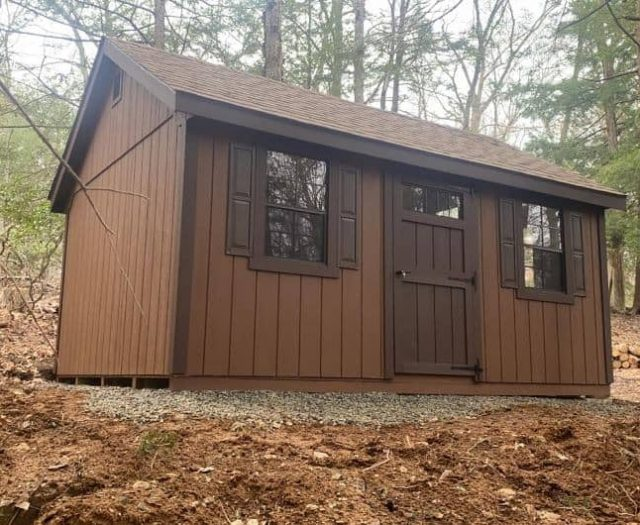 A-Frame Shed with Brown T-111 Wooden Siding, Dark Brown Trim, and Shutters