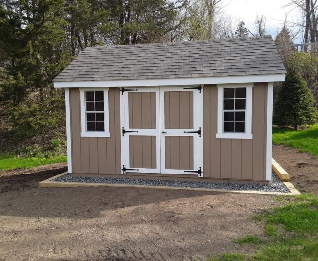A-Frame Shed with Tan T-111 Siding, White Trim, and Windows