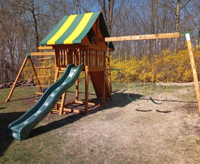 Dream Playground with Green Wave Slide, Sling Swings, and Ring Trapeze Bar