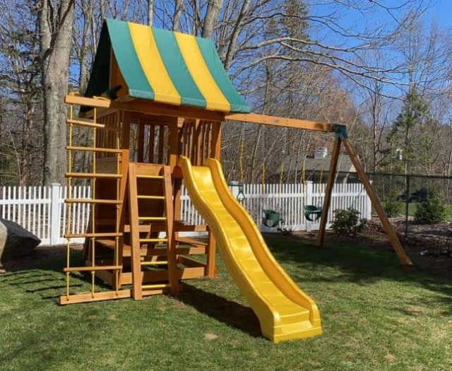 Dream Swing Set with Picnic Table, Full Bucket Swing, and Ladder