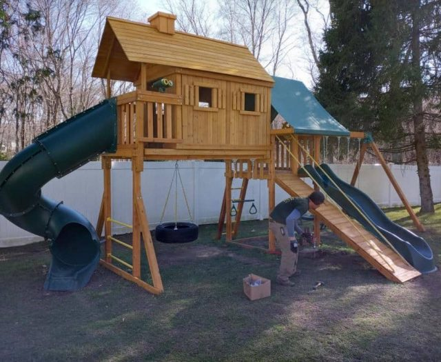 Fantasy Treehouse Playground with Scoop Slide, Spiral Slide, and Tire Swing