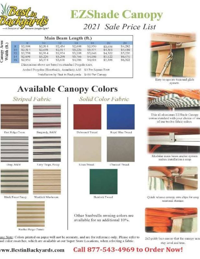 EZ-Shade Canopy and Curtain Price and Color Options