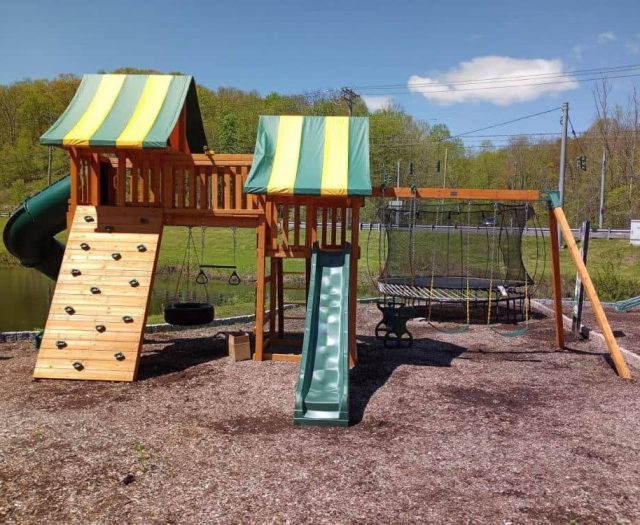 Fantasy Jungle Gym with Bridge, Sling Swings, and Striped Tent Top