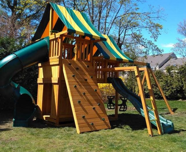 Sky Swing Set with Bottom Clubhouse, Monkey Bars, and Horse Glider Swing