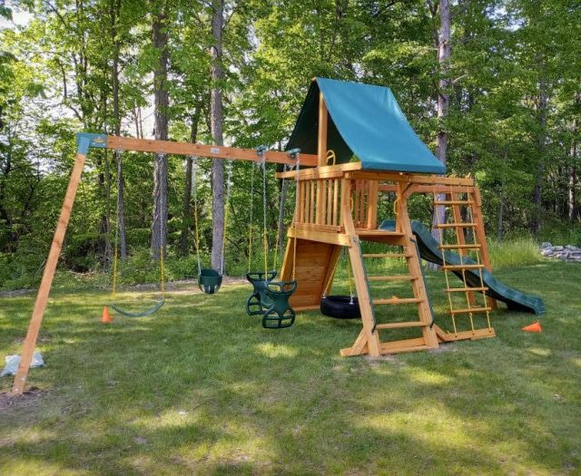 Supreme Jungle Gym with Horse Glider, Tire Swing, and Green Tent Top
