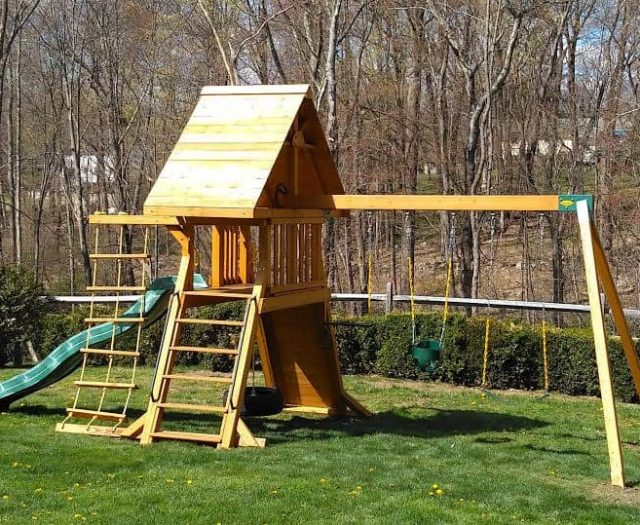 Supremescape Swing Set with Wooden Roof, Full Bucket Infant Swing, and Wooden Step Ladder