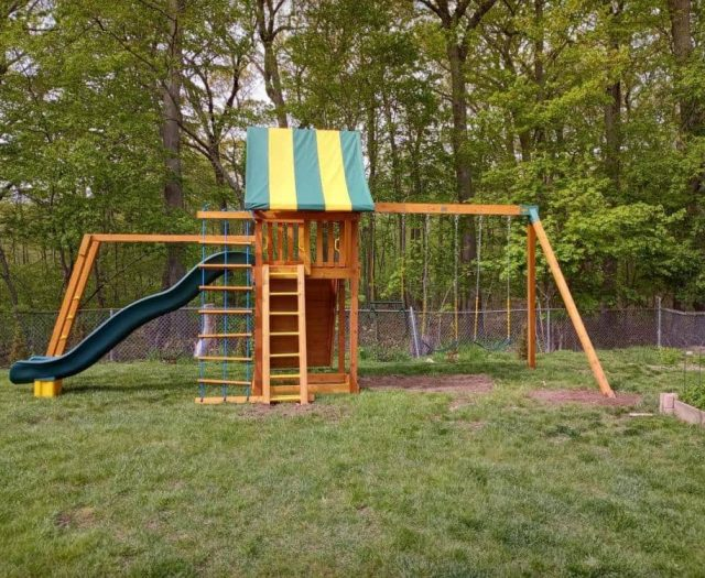Ultimate Swing Set with Monkey Bars, Jacob's Ladder, and Green Scoop Slide