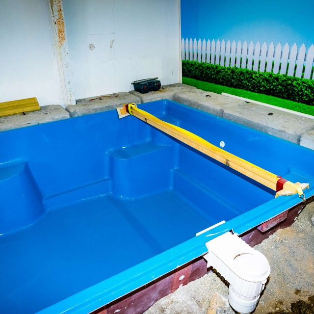 early construction stage of inground pool installation