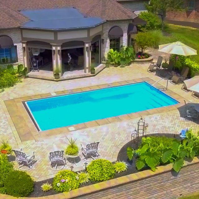 residential inground pool and cabana