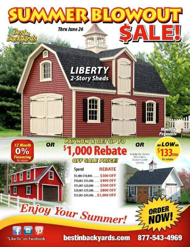 Liberty Two Story Sheds June Cover