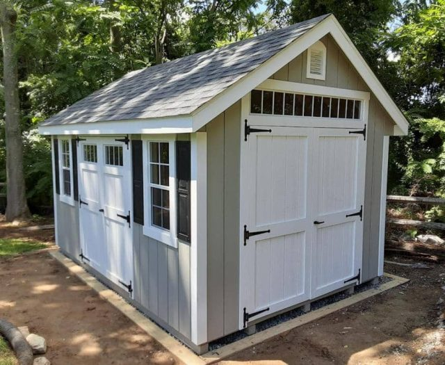 A-Frame Backyard Storage Shed with Grey T-111 Siding, Door Windows, and White Trim