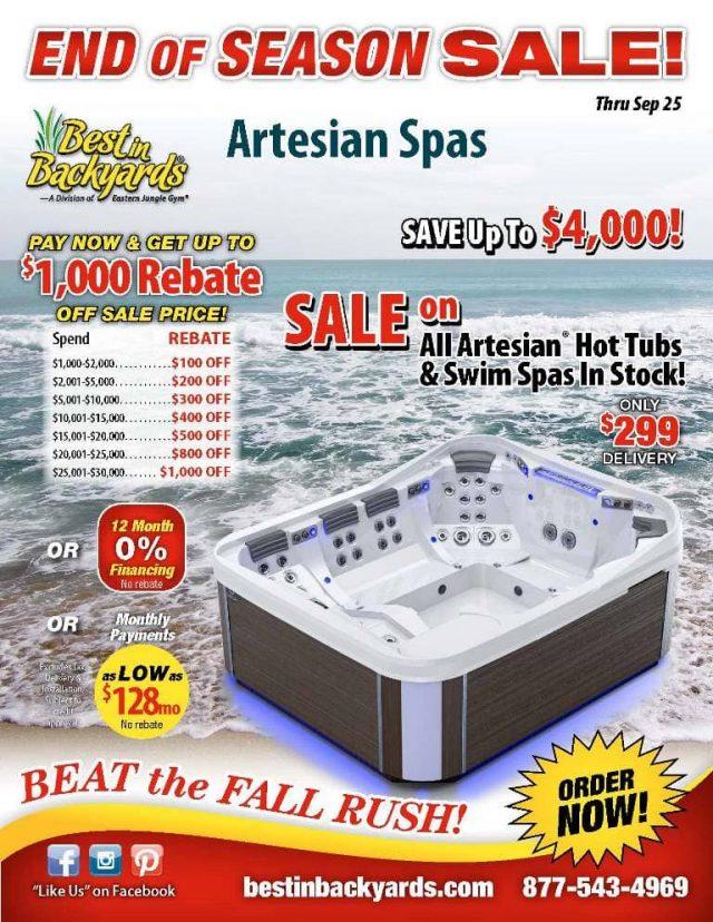 Artesian Hot Tubs and Spas September Cover