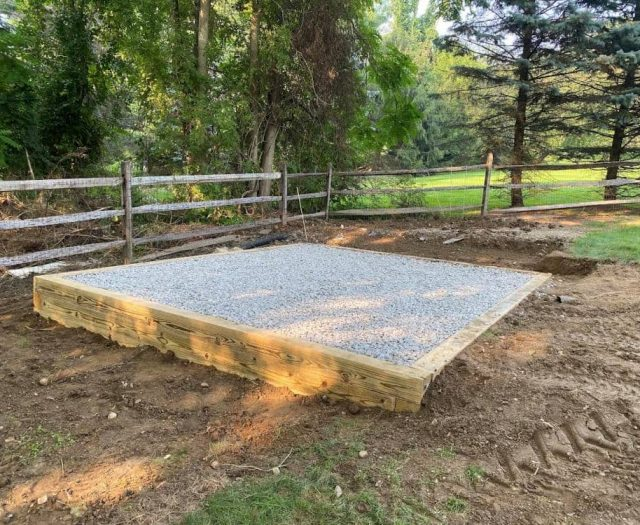 Best in Backyards Gravel Pad with Wood Frame