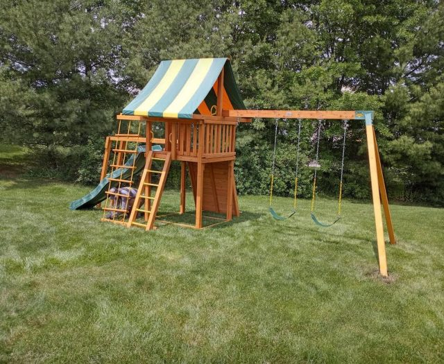 Dream Swing Set with Sling Swings, Installer, and Stripe Canopy