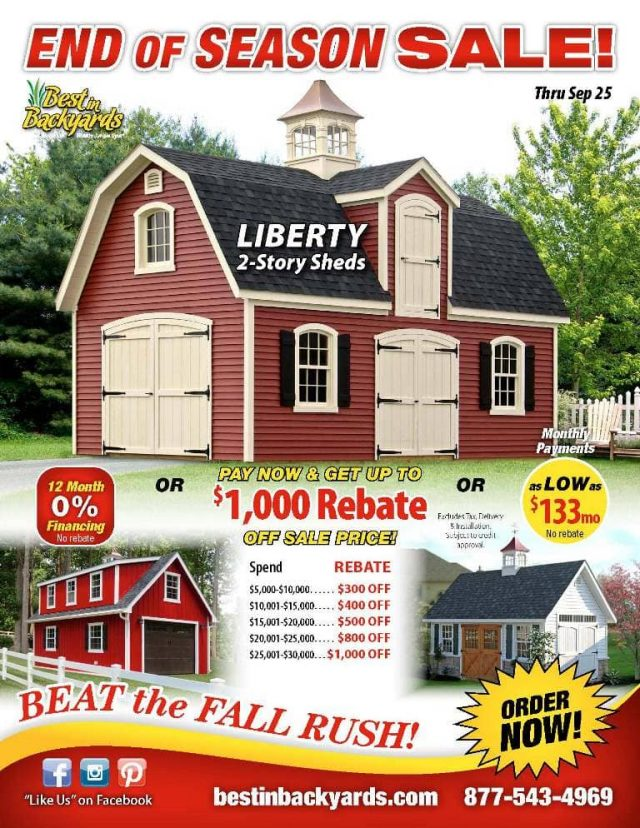 Liberty Two Story Sheds September Cover