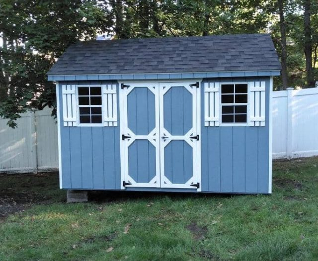A-Frame Storage Shed with Blue T-111 Siding, White Trim, and White Shutters